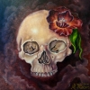 melissa-fusco-arizona-colorado-tattoo-artist-oil-painting-skull-tulip