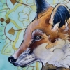 melissa fusco denver tattoo artist fox painting gold leaf