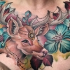 Melissa fusco colorado color tattoo artist chest piece deer flowers