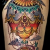 Melissa fusco colorado denver tattoo artist balloon golden compass tattoo