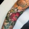 melissa fusco evergreen denver colorado color tattoo artist floral sunflower sleeve