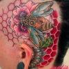 melissa-fusco-steampunk-bee-poppy-flower-honey-comb-tattoo