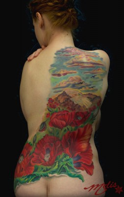 Melissa-Fusco-Colorado-Denver-tattoo-artist-poppy-field-mountain-backpiece-2-web